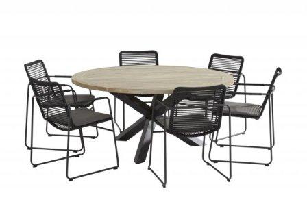 Table LOUVRE teck/alu 160 cm -TECK, divers-Mobilier de ...